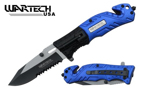"""Wartech 8"""" Assisted Open Folding Tactical Survival Pocket Knife Two Tone Blade Black/Blue Handle With Led Light"""