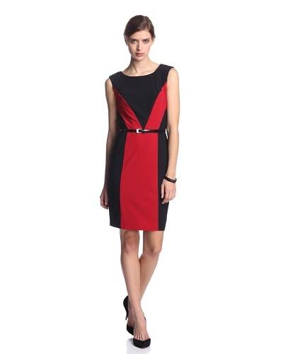 Ellen Tracy Women's Belted Colorblock Dress