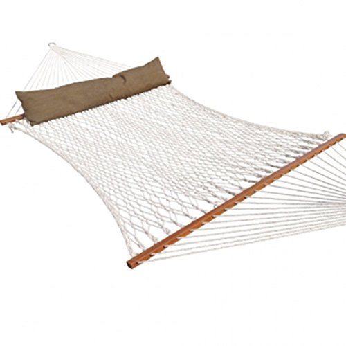 Prime Garden PG0014 White 73″Lx60″W Deluxe Cotton Rope 2-Person Hammock w Pillow