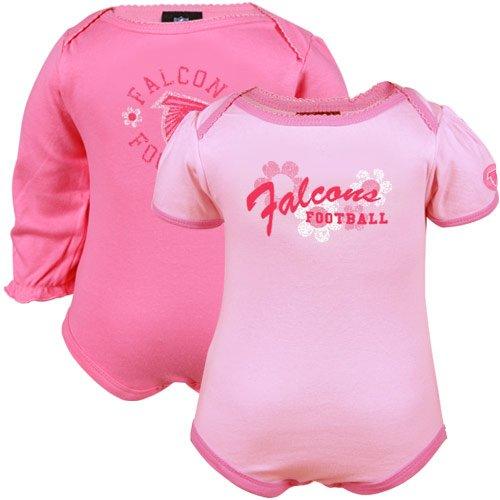 Gerber Atlanta Falcons Infant Girls Pink Flower Power 2-Pack Creeper Set (0-3 Months)