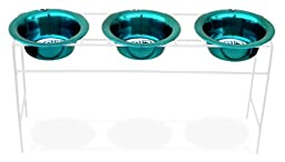 Platinum Pets White Triple Modern Diner Stand with 8 Cup Stainless Steel Dog Bowls in Caribbean Teal