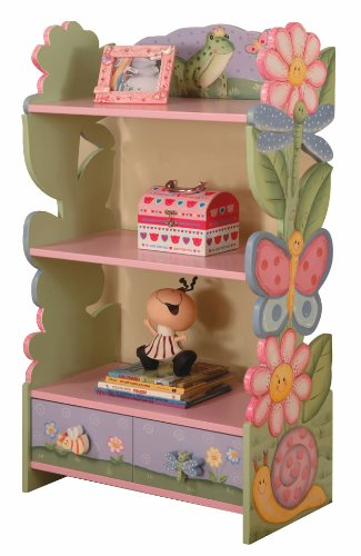 Childrens Magic Garden Hand Painted Bookcase with Drawer