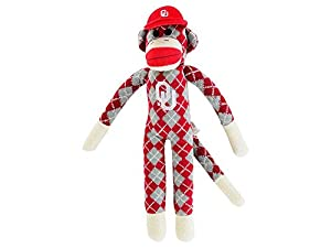NCAA Oklahoma Sooners Argyle Sock Monkey, One Size, Red at 'Sock Monkeys'