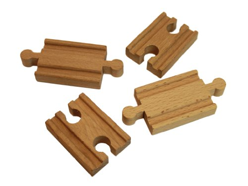 Wooden Train Track Set: Adapter Pieces (2 Male 2 Female) - By Right Track Toys - 100% Compatible with All Major Brands including Thomas Wooden Railway System