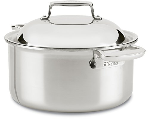 All-Clad SD755086 18/10 D7 Stainless Steel 7-Ply Bonded Construction Dishwasher Safe Oven Safe Round Oven Stock Pot, 8-Quart, Silver (All Clad Dutch Oven Nonstick compare prices)