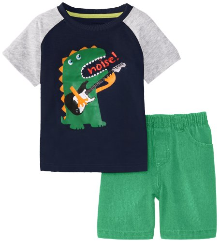 Kids Headquarters Baby-Boys Infant Crew Neck Tee With Green Shorts, Navy, 24 Months front-690791