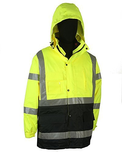 Safety Depot Two Tone Lime Yellow Black Reflective Class 3 Safety Parka Jacket Reversible Two Piece With Zipper and Pockets 360c-3 (2XL) by 2W
