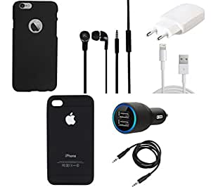 NIROSHA Cover Case Charger Headphone for Apple iPhone 6Plus - Combo
