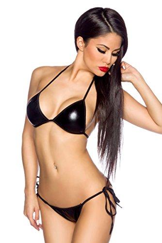 Dirty-Diana sexy Wetlook Stretch Lack Bikini schwarz glänzend Größe One Size 32 - 38
