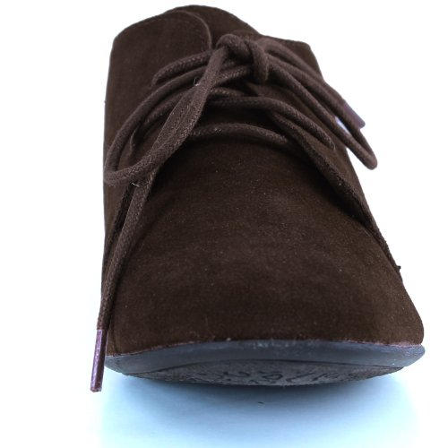 Women's Cute Lace Up Flat Oxford Sneaker Desert Ankle Light Brown Color, 7.5,7.5 B(M) US