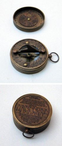 Handtooled Handcrafted Pocket Sundial Compass With Lid