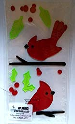 Winter Gel Window Clings ~ Cardinals Red Birds on Branches with Holly (1 Sheet, 19 Clings)