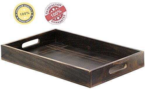 SouvNear Mango Wood Serving Tray with Handles - 16.8 X 11 Inches Large Dark Brown - Decorative Vintage Look Service Trays for Tea, Coffee, Breakfast, Ottoman Unique Table Decor