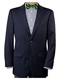 Paul Fredrick Men's 100% Wool Two-Button Travel Blazer Navy 56 Long