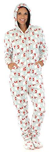SleepytimePjs Women's Printed Fleece Onesie PJs Footed Pajama Polar Bear-MED