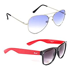 Elligator Stylish Aviator Silver Blue And Red Wayfarer Sunglasses Combo ( Set of 2 )