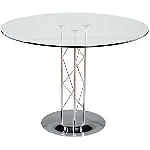 36 Glass Top Trave Round Dining Table With Glass Top And C