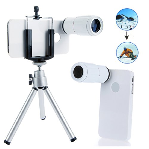 8X Magnification Mobile Phone Zoom Telescope Magnifier Optical Camera Lens With Tripod + Holder + Hard Back Case For Iphone 4 4S White