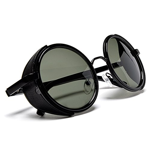 Vintage Classic Victorian Steampunk Round Metal Sunglasses (G-15 Green)