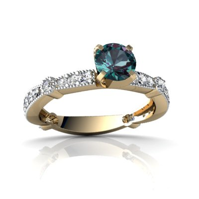 14ct Yellow Gold Round Alexandrite Ring