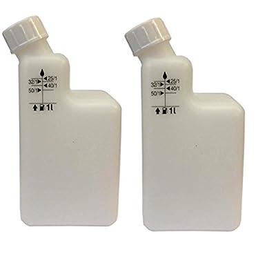 (2 Bottles) 1Ltr 2-Stroke Mixing Bottle Pre Mix 40/1 25/1 32/1 50/1 Strimmer Chainsaw