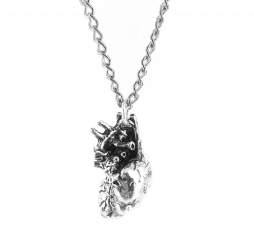 Mens Anatomically Correct Heart Pendant Necklace
