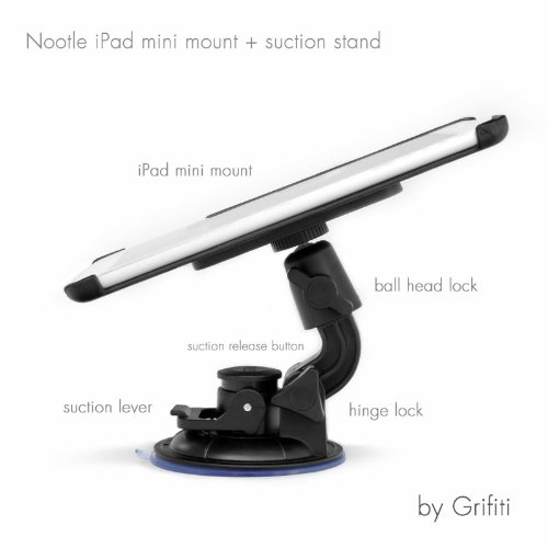 Grifiti Nootle Ipad Mini Suction Stand For Windshields, Cars, Windows, And Glass Applications Combines Two Nootle Products Used Together Or Stand Alone: Ipad Mini Mount Retrofits Tripods, Microphone Stands, Recording Stands, Music Stands For Photographers