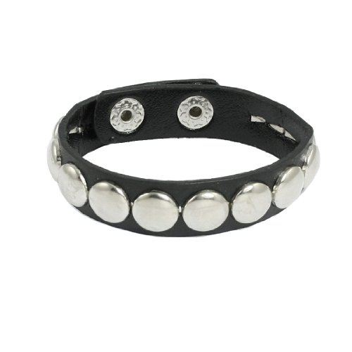 Rosallini Woman Man Stud Detail Black Faux Leather Bangle Bracelet