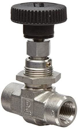 Parker NP6 Series Stainless Steel 316 Needle Valve, Inline, Hand Wheel, PCTFE Tipped Stem, NPT Female
