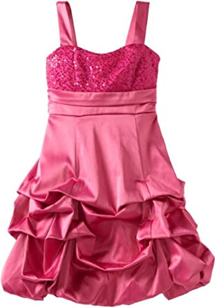 Ruby Rox Big Girls' Sequin Top Pick Up Dress, Hot Pink, 7