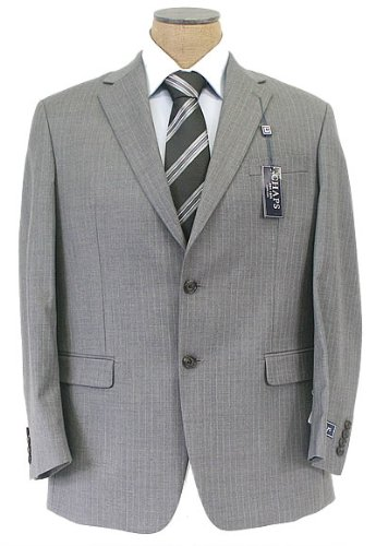 CHAPS Mens 2 Button Pleated Gray Pinstripe Wool Suit
