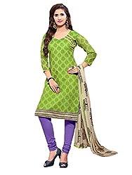 Varanga Green Printed Chanderi Dress Material With Matching Dupatta KFBND14018