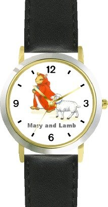 Mary Had A Little Lamb No.1 - From Mother Goose By Artist: Sylvia Long - Watchbuddy® Deluxe Two-Tone Theme Watch - Arabic Numbers - Black Leather Strap-Size-Women'S Size-Small front-772854