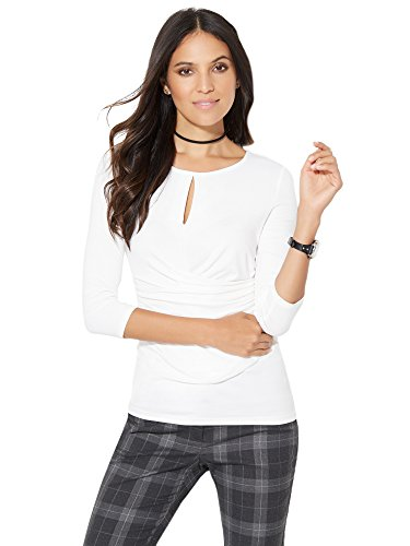 New York & Co. Women's - Keyhole-Accent Top - White Xsmall Paper White (New York And Company Tops compare prices)