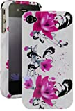 Purple Flower with White Snap on Hard Skin Cover Case for Apple Iphone 4 4g ....
