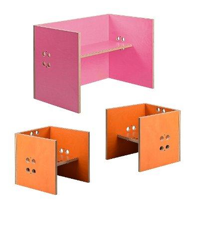 Kindersitzgruppe – Kindermöbel – 2 Kinderstühle / Hocker + 1 Kindertisch / Bank. Tisch pink, Farbe Stühle frei wählbar. (Stühle / Hocker orange, Tisch / Bank pink) günstig bestellen