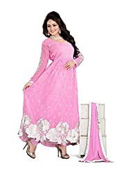 Youth Mantra Women's embroidered Georgette Pink Dress materials
