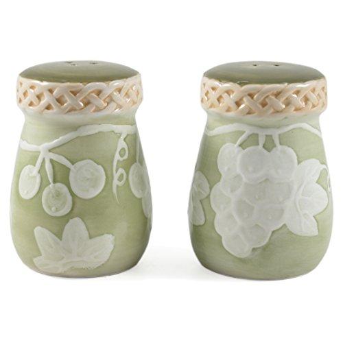 Glazed Ceramic Grapevine Salt and Pepper Shaker Set (Grapes Salt And Pepper Shakers compare prices)