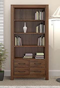 Grand walnut wood furniture large tall bookcase bookshelf with drawers