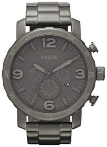 Fossil Men's JR1400 Nate Chronograph Stainless Steel Smoke Band and Dial Watch