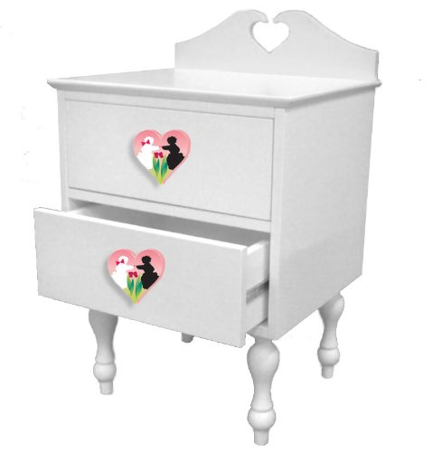 Room Magic Poodles Nightstand, White