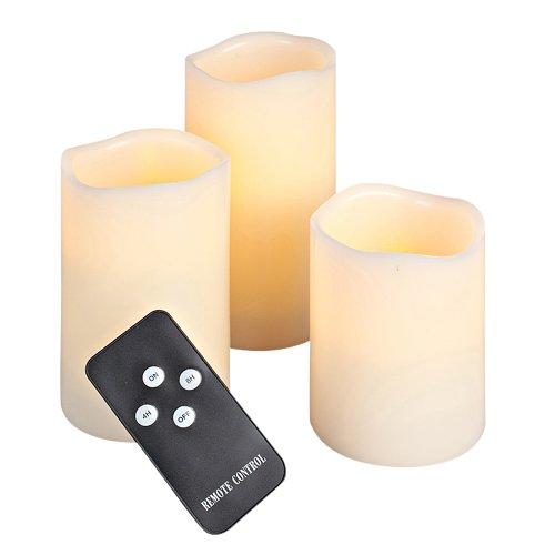 Everlasting Glow LED Wax Wavy Edge Candle, Set Of 3, 3″ x 4, 5, 6″