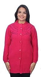 Romano Pink Winter Wool Sweater Cardigan for Women