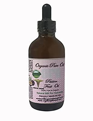 Passion Fruit Oil Cold Pressed 100% Pure Natural 4 oz Organic Maracuja Oil Fruit Seed Hair Face Body Skin Lip Care Unrefined Extra Virgin Premium Pharmaceutical Grade
