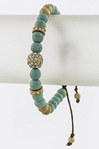 Karmas Canvas Crystal Orb Faux Stone Bracelet (Turquoise) front-731579