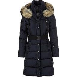 SAM. Women\'s Infinity Down Coat with Fur Trim Hood and Belt, Navy, Medium