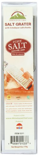 Wbm Himalayan Chef Grater With 3 Himalayan Pink Salt Chunks, 6 Ounce