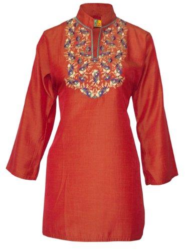 Ladies Indian Embroidered Long Sleeve Kurta-Kurti Tops Red KL330201-FREE SHIPPING