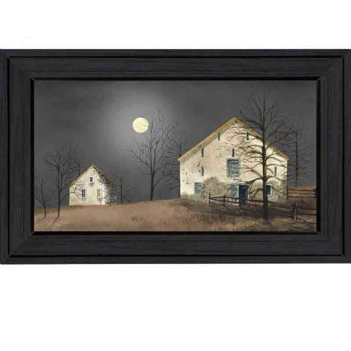The Craft Room BJ101-603 Still of the Night, Country Themed Framed Script Canvas Like Print by Artist Billy Jacobs, 30x16 Inches