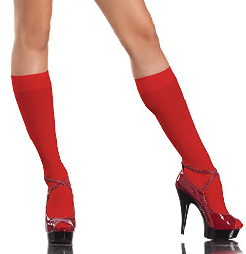 Costume Adventure Women's Red Sexy Naughty Nurse Knee High Nylon Stockings
